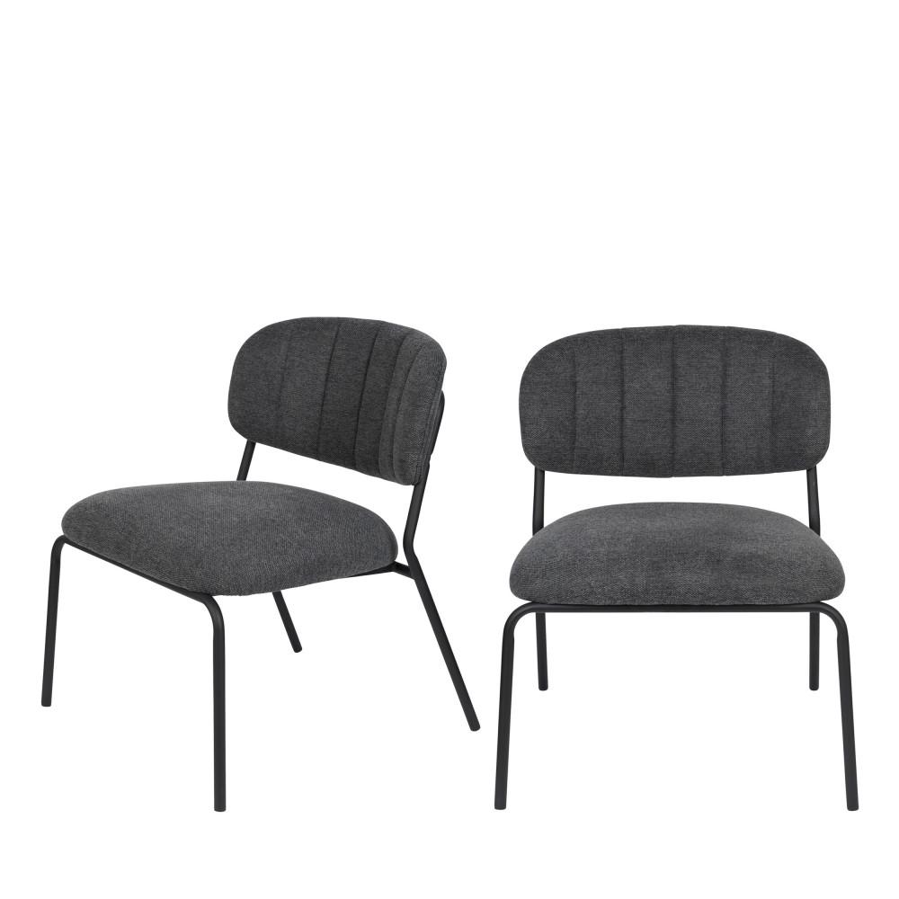 2 chaises lounge pieds noirs gris foncé