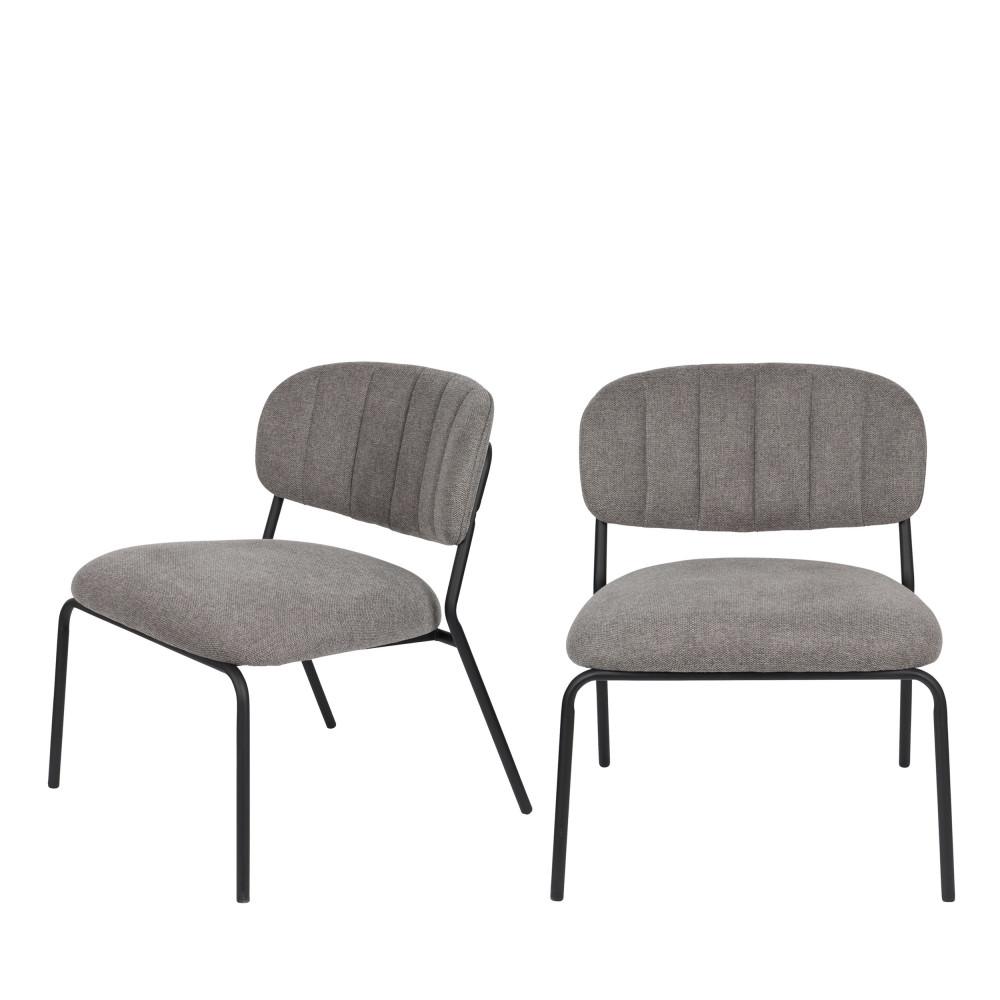 2 chaises lounge pieds noirs gris