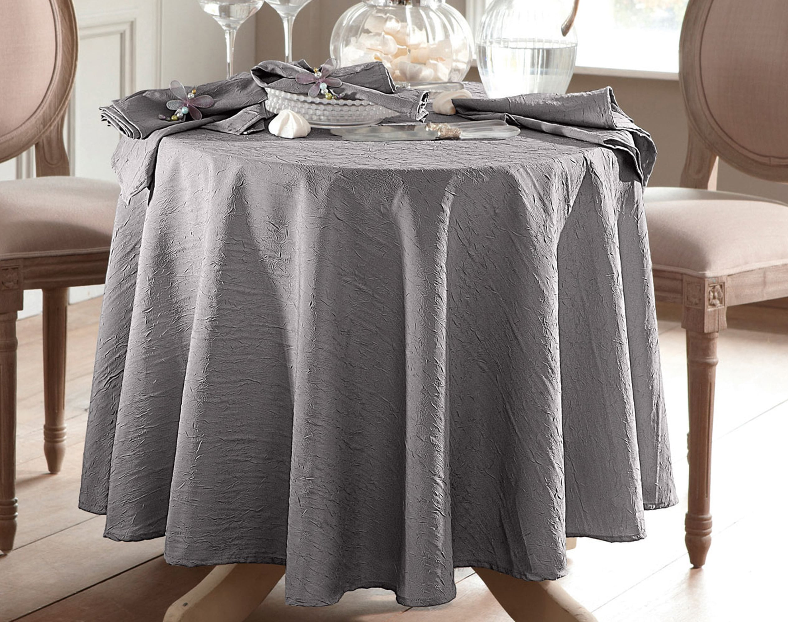 Nappe Ronde gris en polyester 235x235