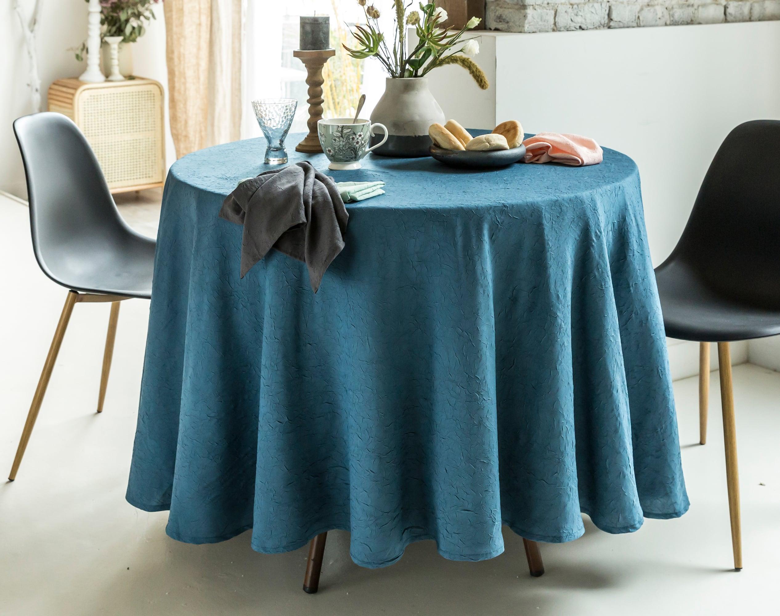Nappe Ronde bleu en polyester 180x180