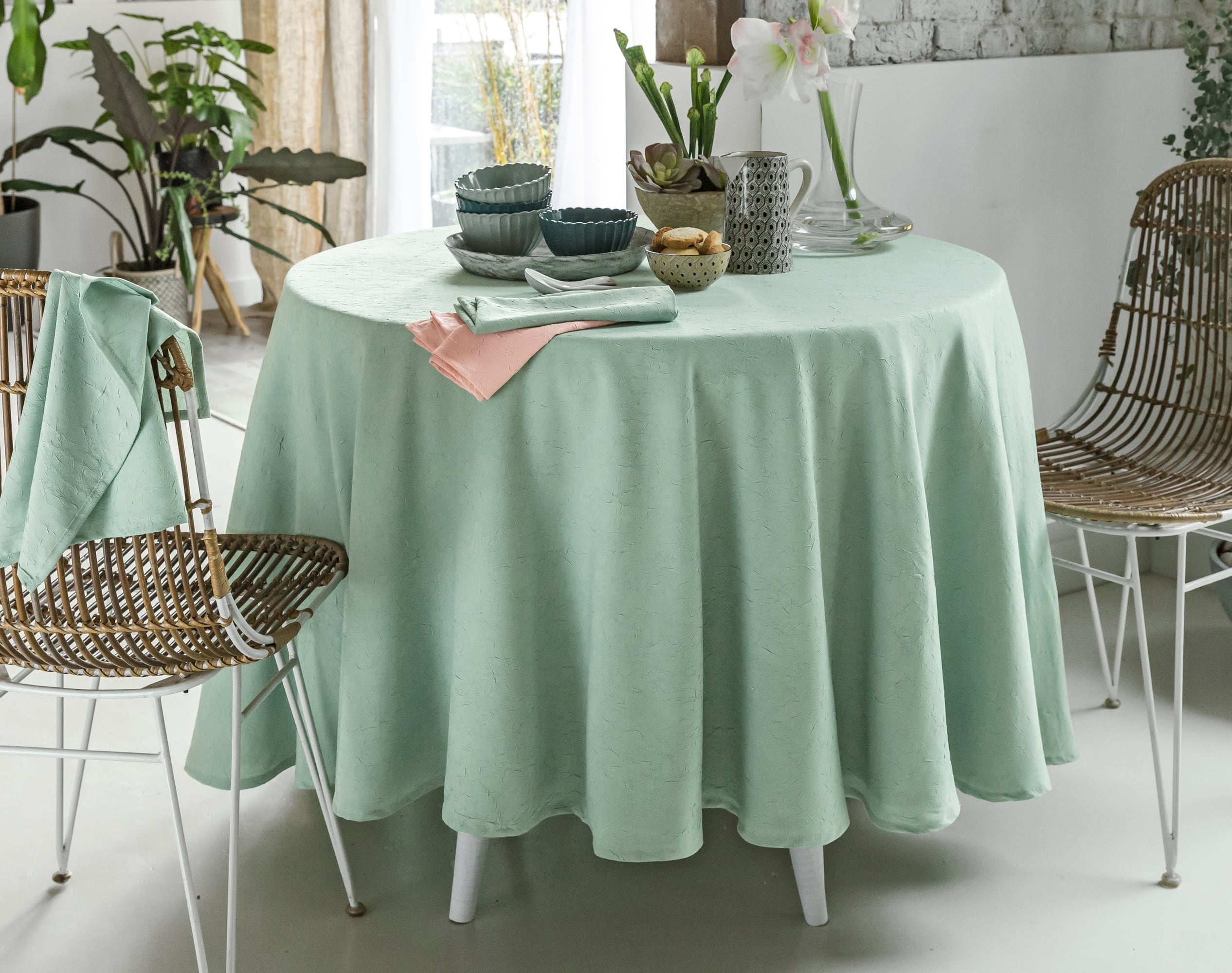 Nappe Ronde vert en polyester 180x180