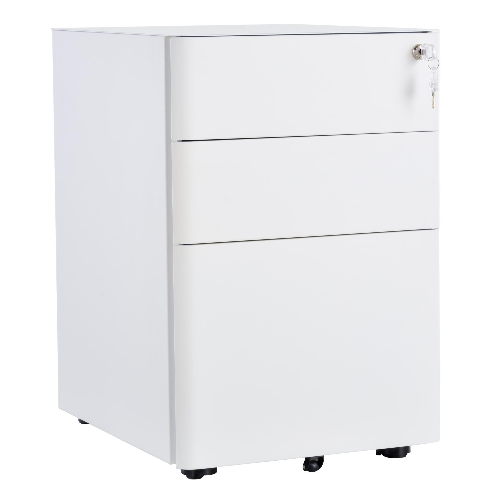 Caisson bureau roulettes 3 tiroirs verrouillables trieur acier blanc