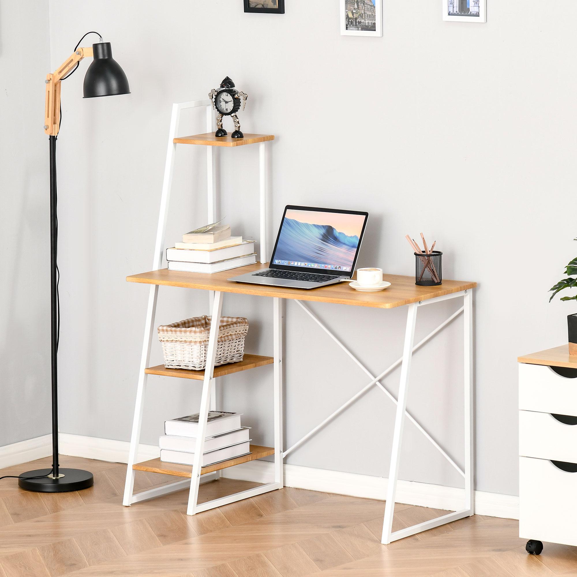 Bureau design industriel avec bibliothèque trapézoïdale 3 étagères
