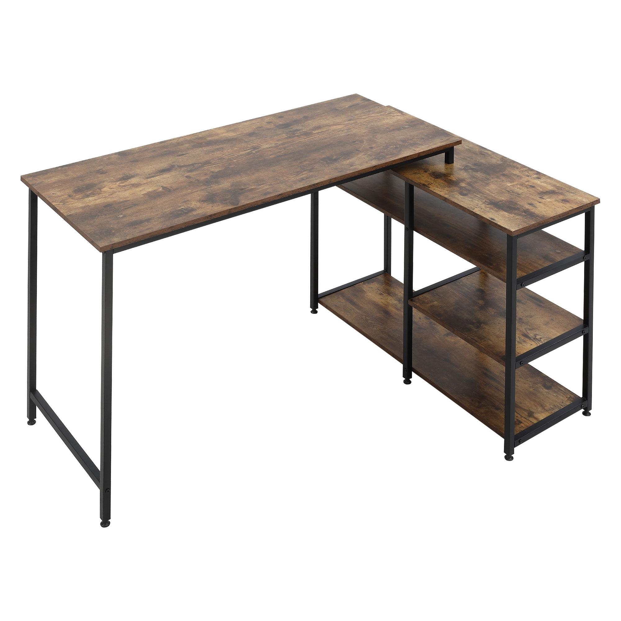 Bureau d'angle design industriel 3 étagères aspect bois métal noir
