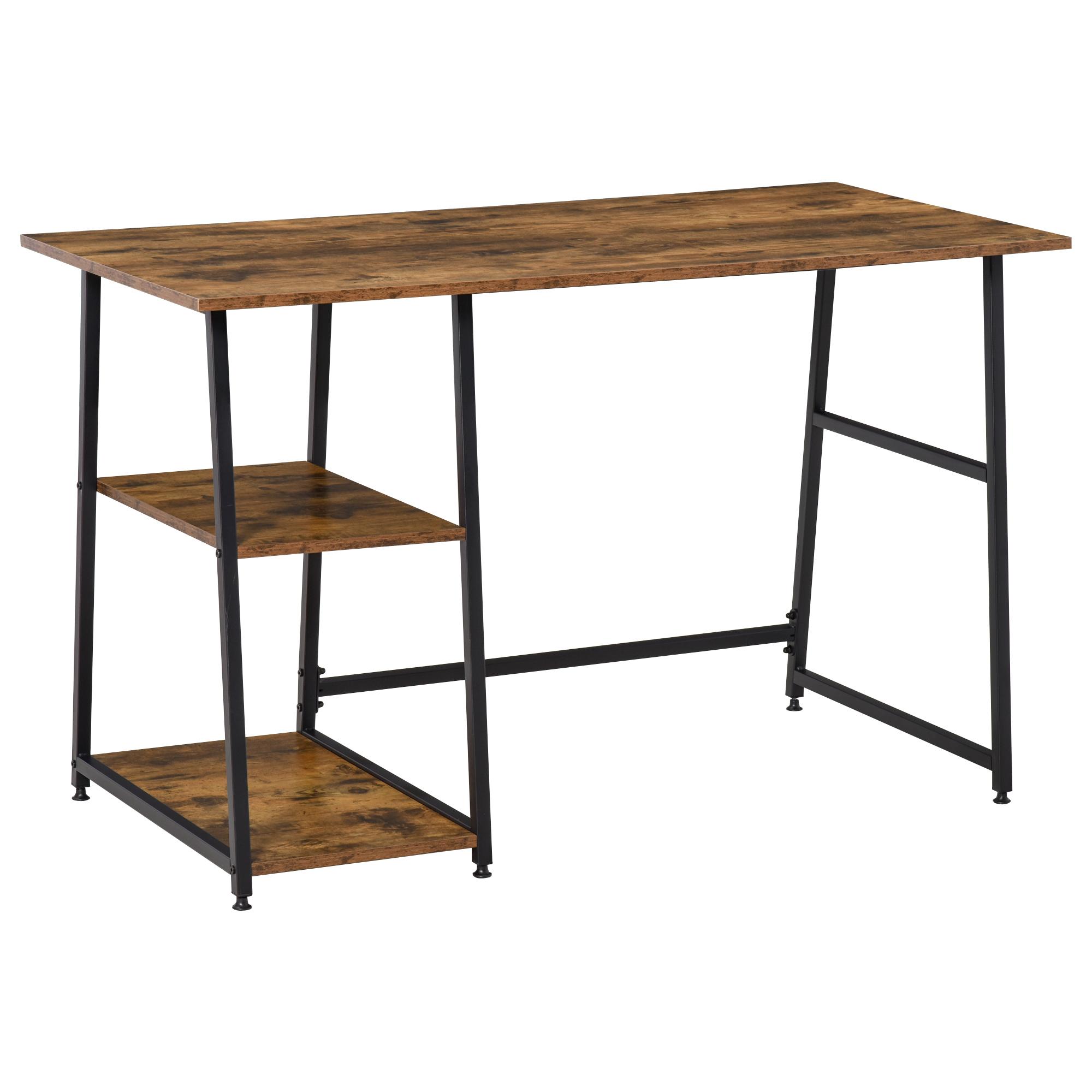 Bureau informatique industriel 2 étagères aspect vieux bois acier noir