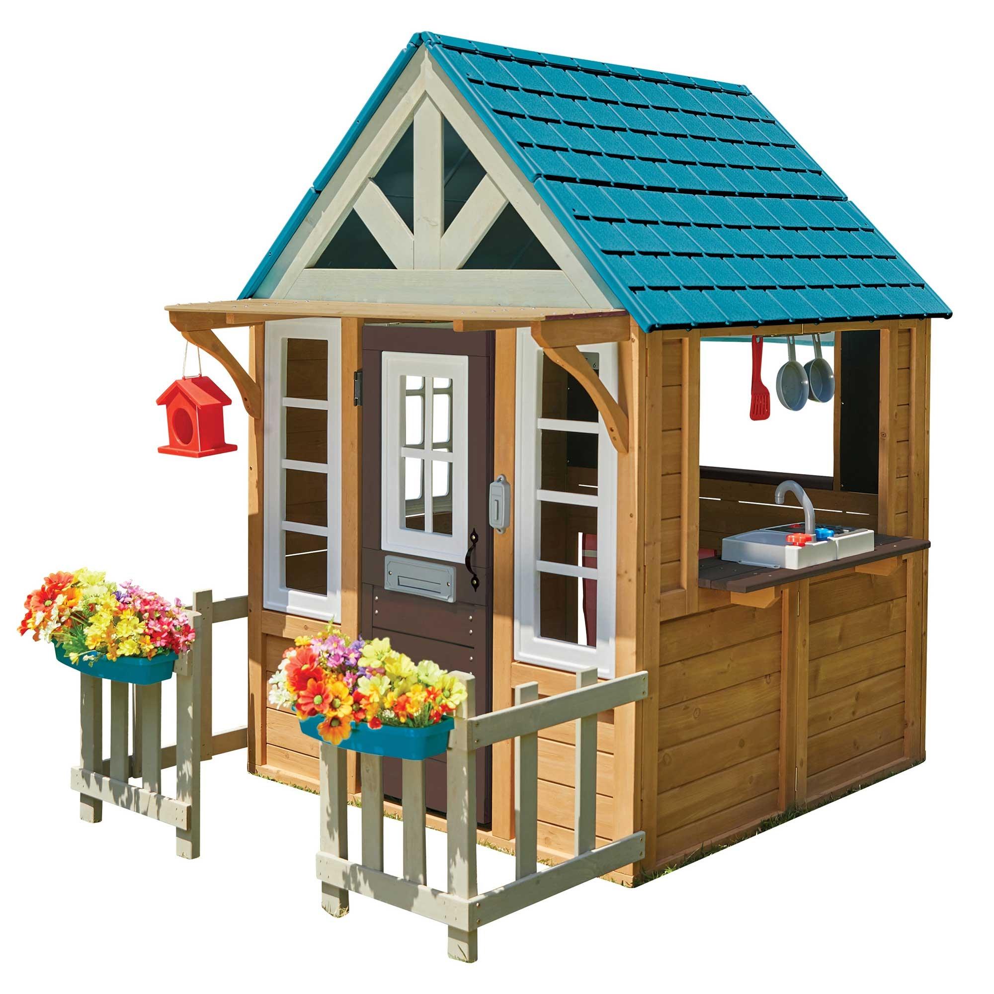 Maisonnette en bois et toit plastique bleu pour enfants