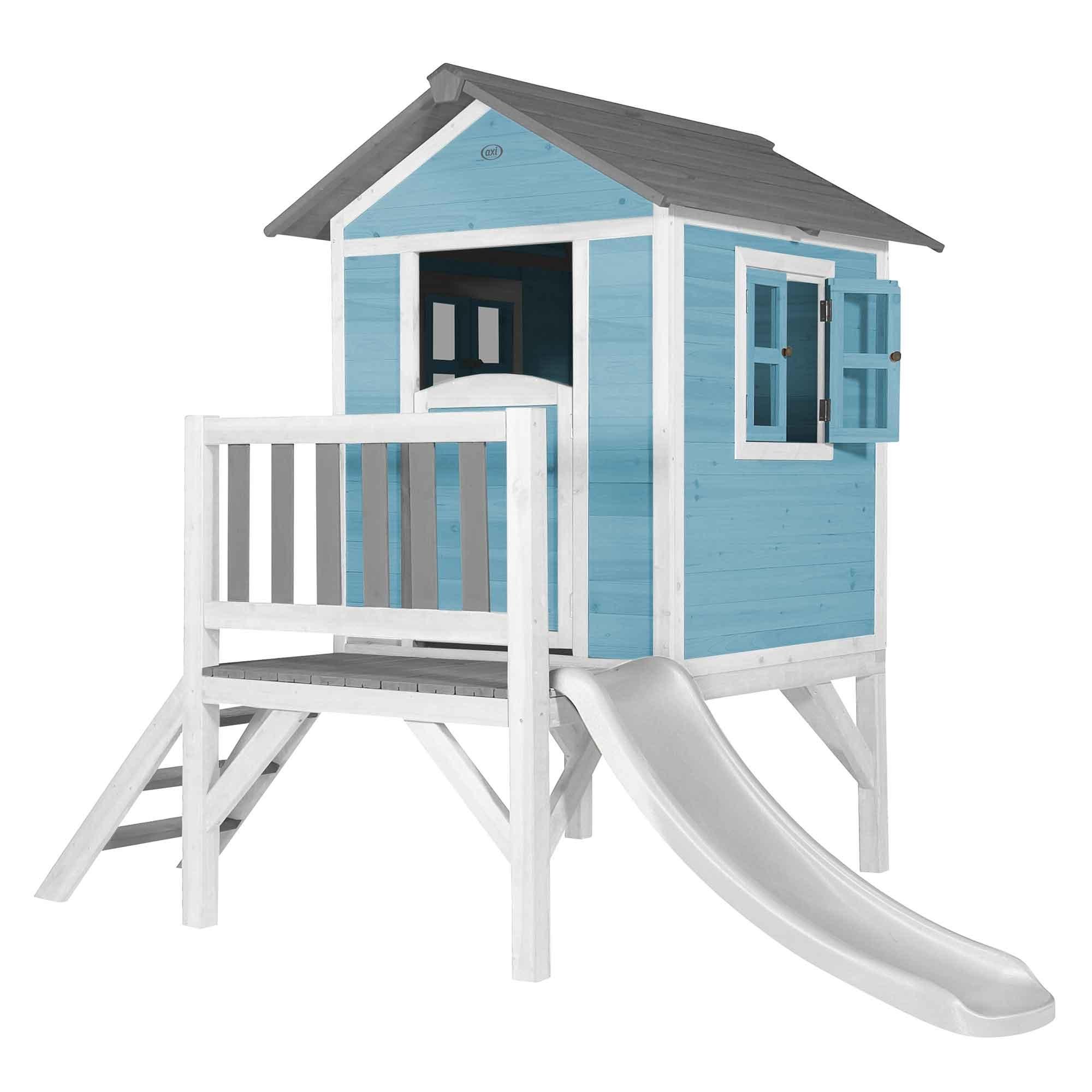 Maisonnette bleue sur pilotis avec toboggan blanc