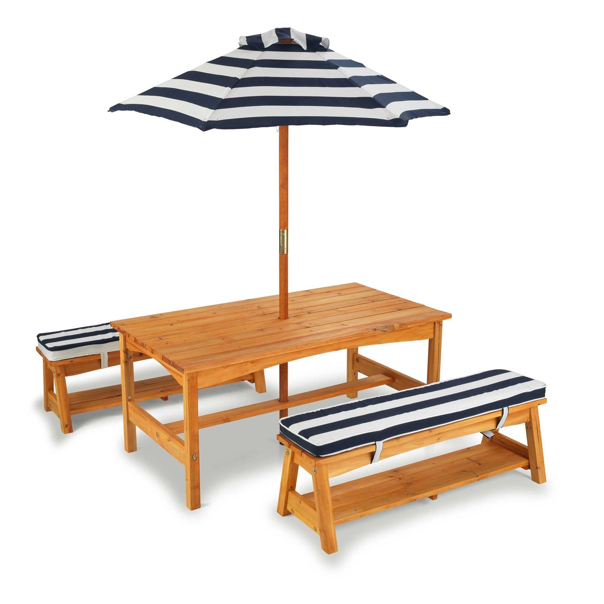 Table et bancs de jardin enfants avec coussins bleu blanc et parasol