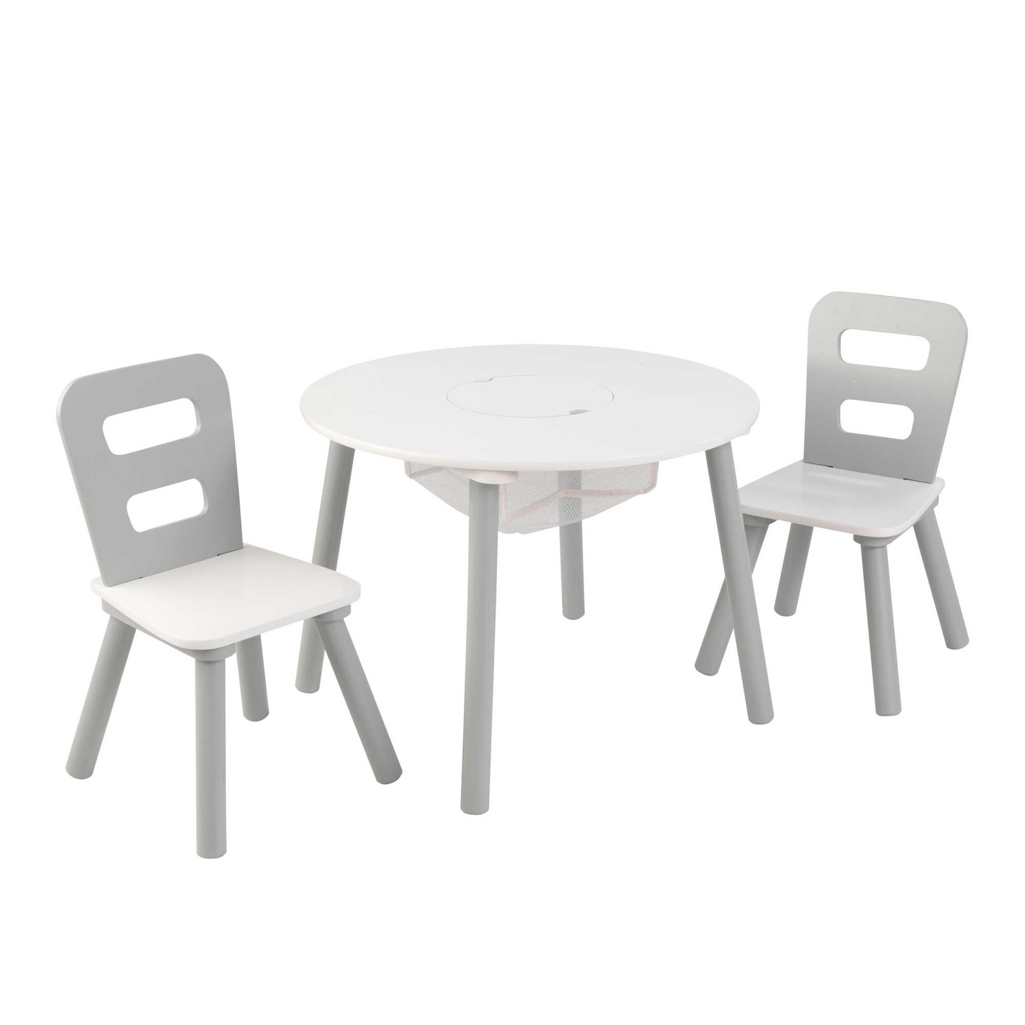 Table enfant ronde et 2 chaises grises