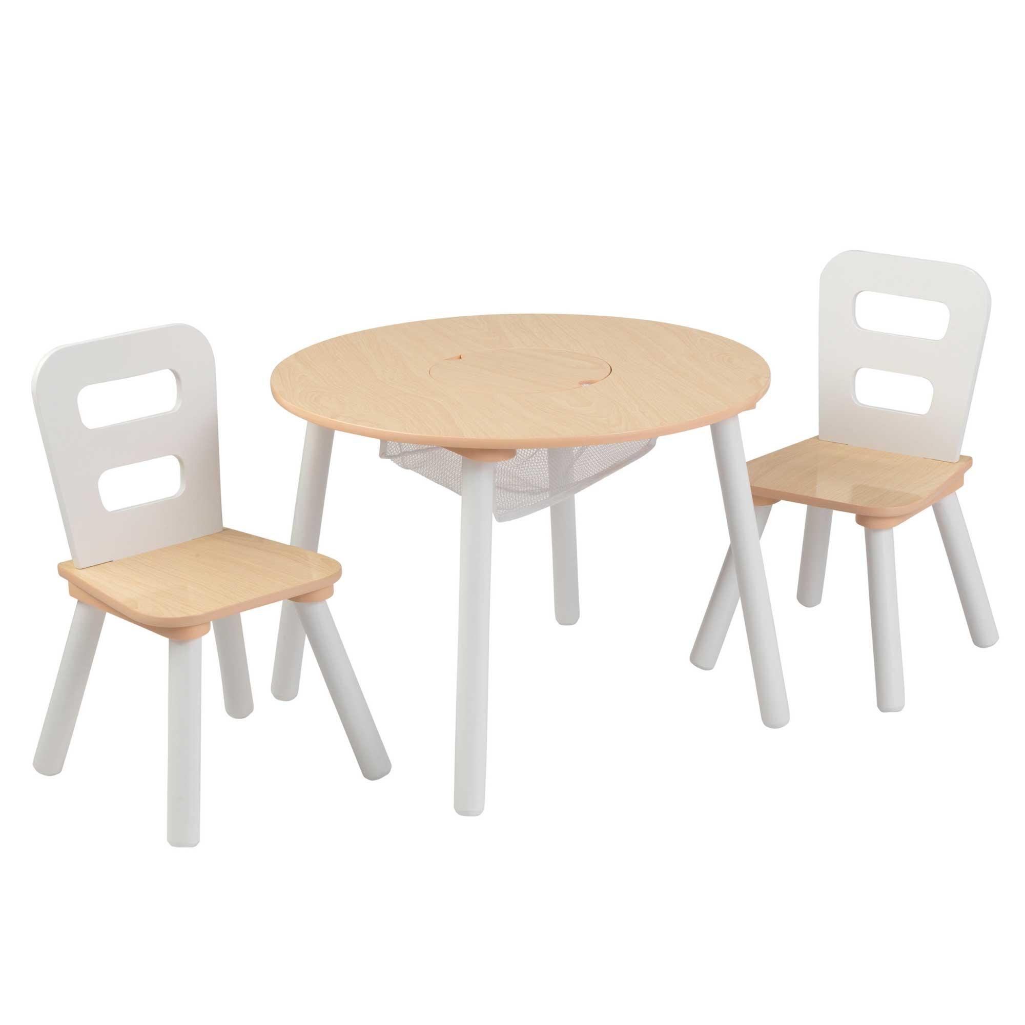 Table ronde et 2 chaises bois naturel et blanc