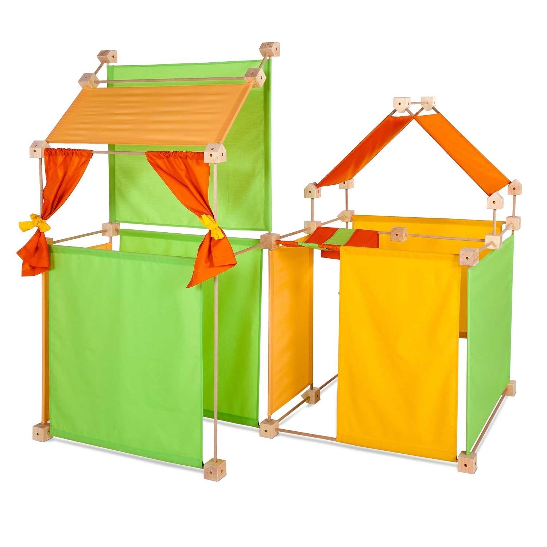 Jeu de construction géant en bois tissu orange 150 pièces