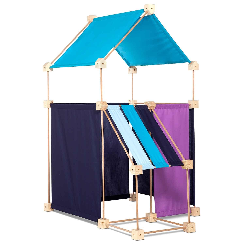 Jeu de construction géant en bois tissu bleu 79 pièces coffret bois