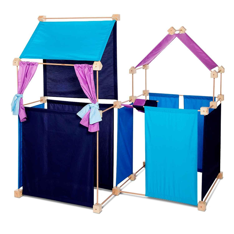 Jeu de construction géant en bois tissu bleu 150 pièces coffret bois