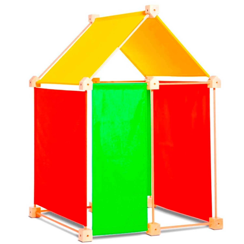 Jeu de construction géant en bois tissu orange 44 pièces