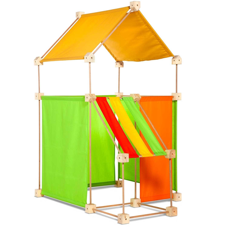 Jeu de construction géant en bois tissu orange 79 pièces coffret bois