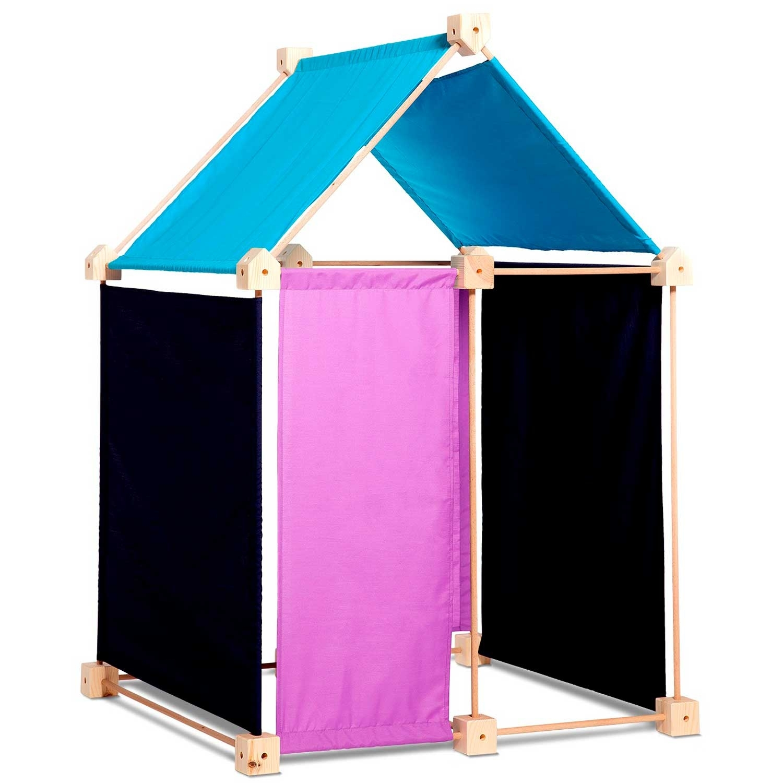 Jeu de construction géant en bois tissu bleu 44 pièces