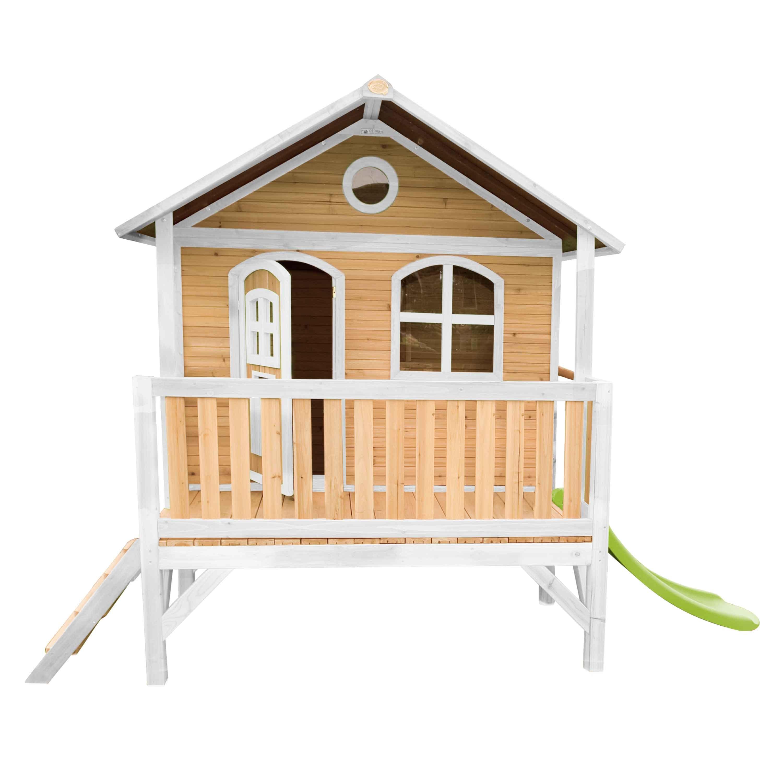 Maisonnette sur pilotis en bois brun et blanc avec toboggan vert
