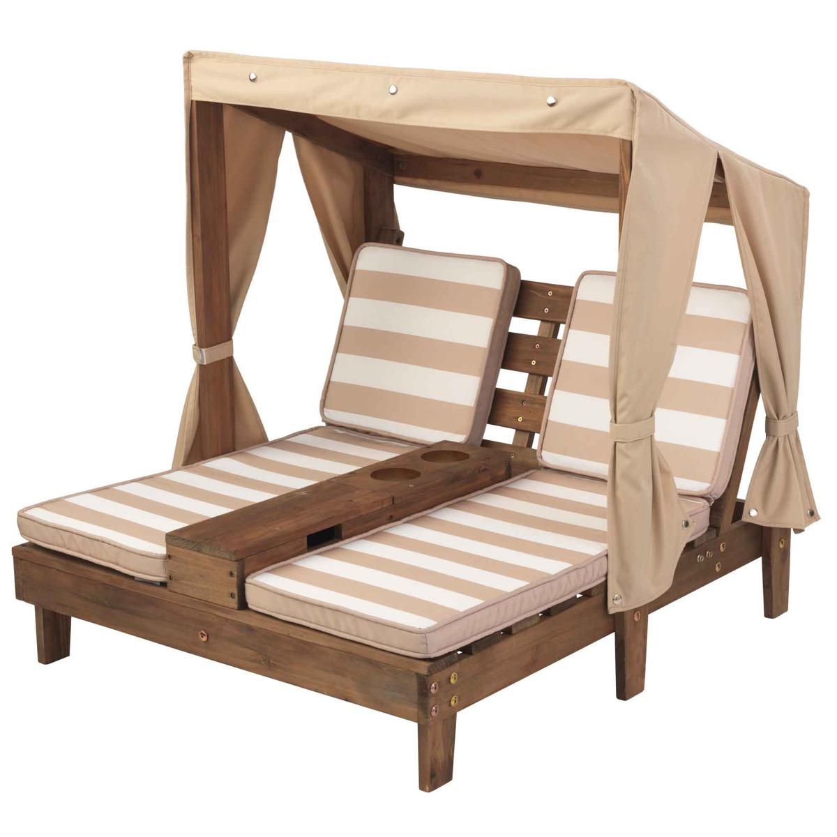 Double chaise longue enfant avec coussins rayés beige et blanc