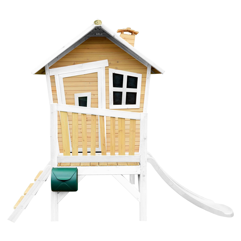 Maisonnette en bois avec toboggan blanc