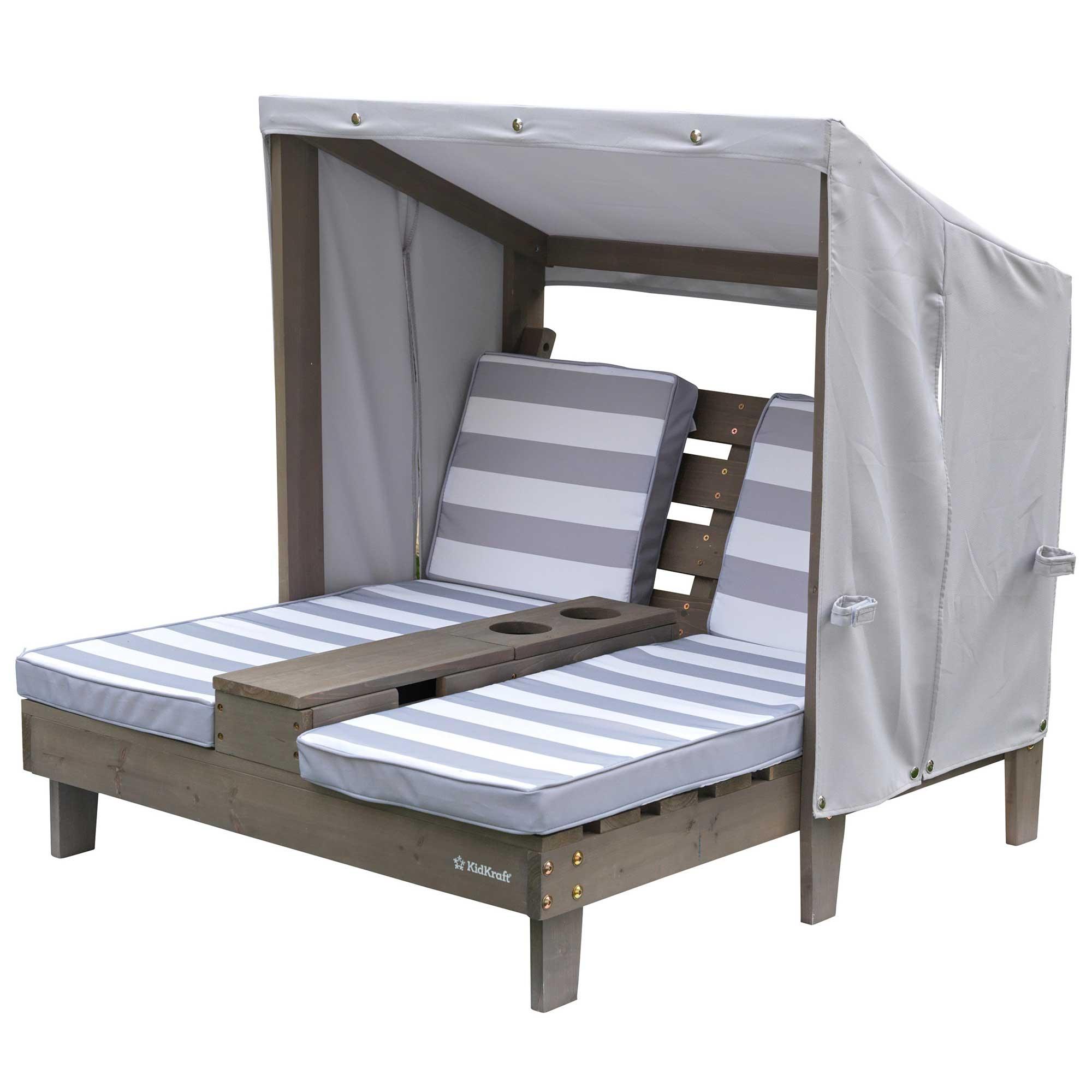 Double chaise longue enfant avec coussins rayés gris et blanc