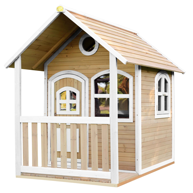 Maisonnette en bois brun et blanc