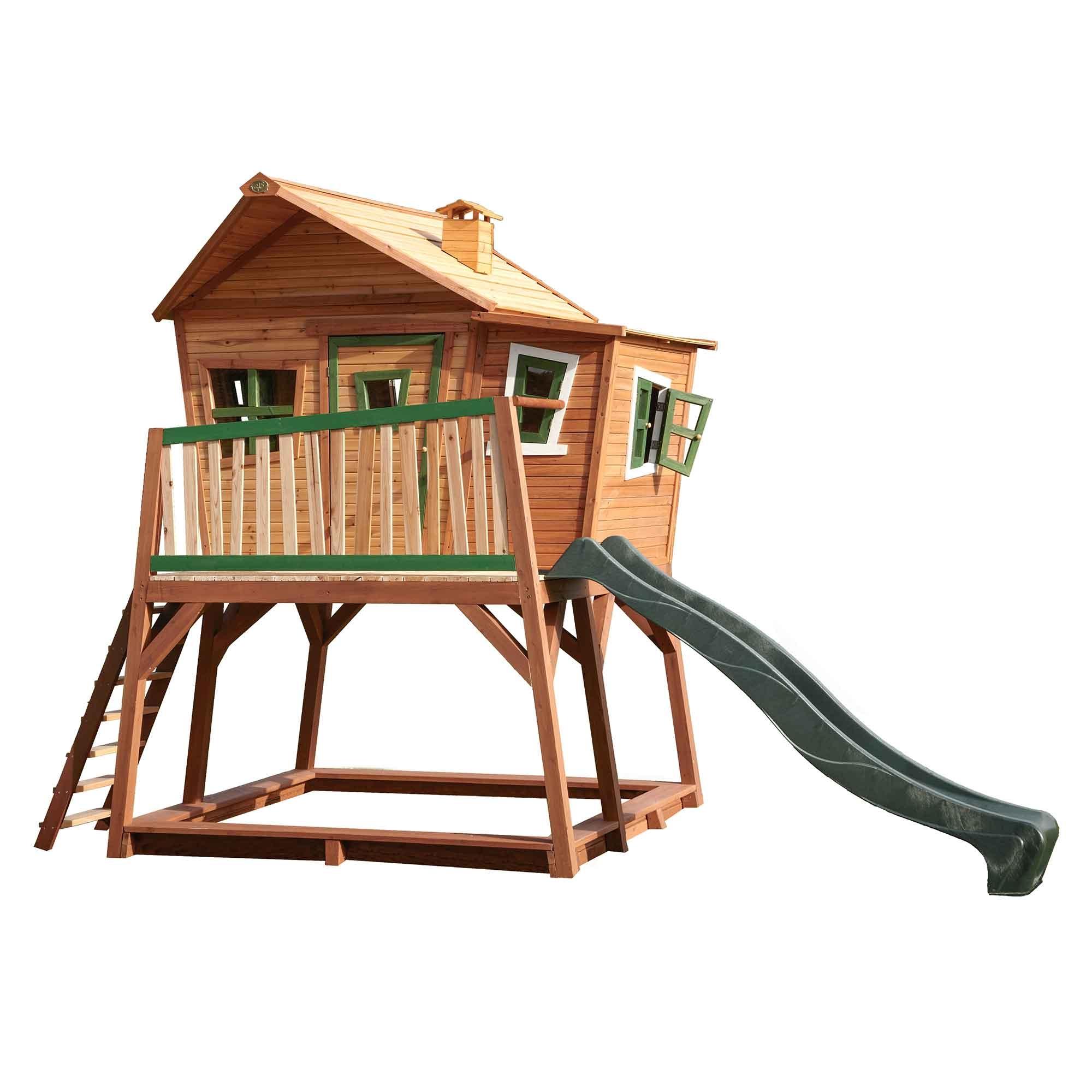 Grande cabane en bois pour enfant avec toboggan vert