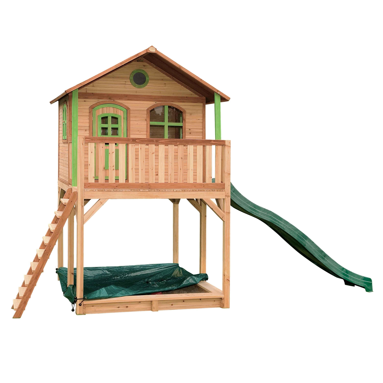 Maisonnette brun et vert avec toboggan vert