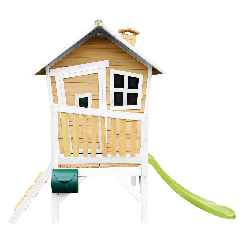 Maisonnette en bois pour enfants avec toboggan vert citron