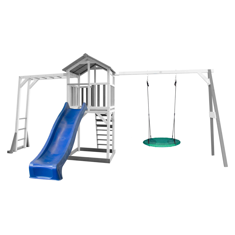 Aire de jeux avec échelle de singe 1 balançoire nid et toboggan bleu