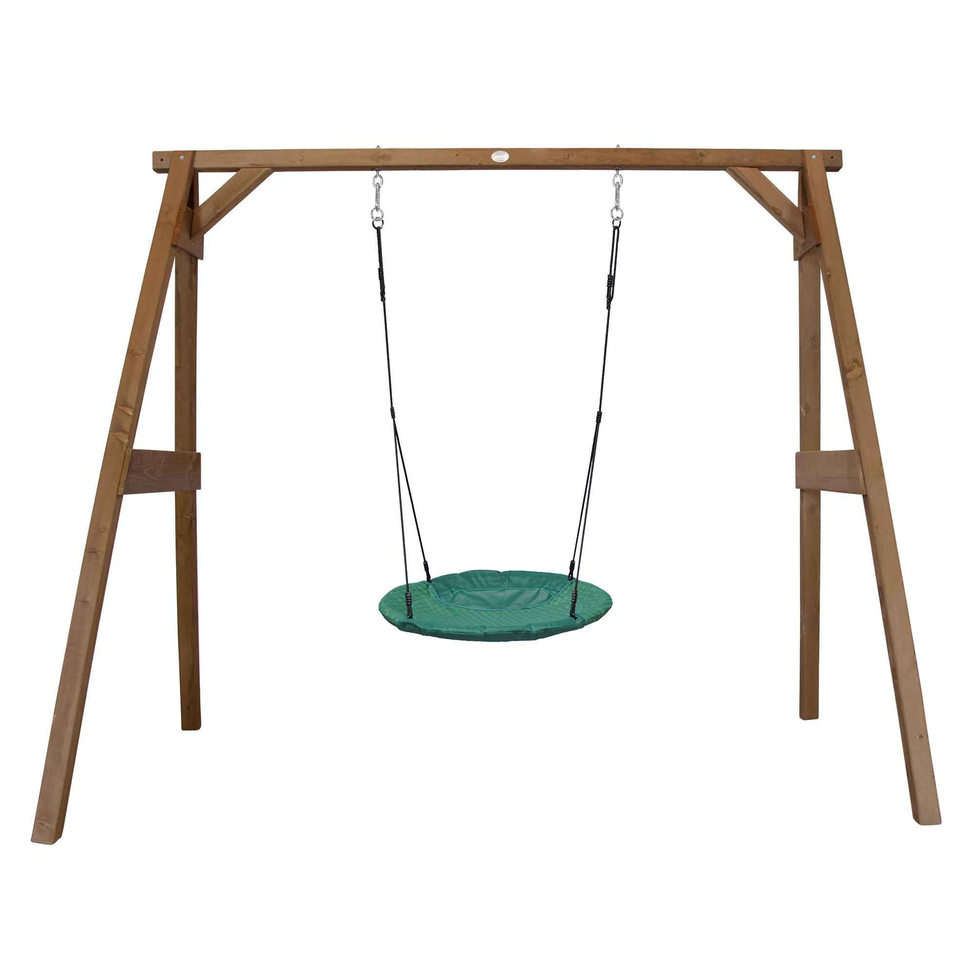 Portique en bois marron avec balançoire siège nid rond