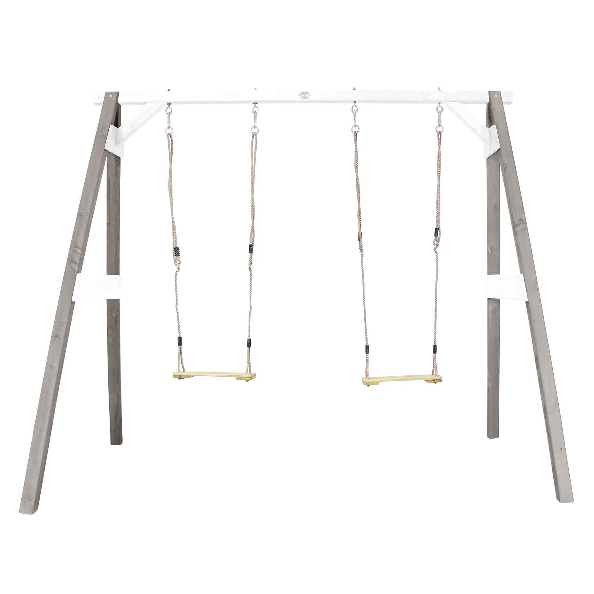 Portique double 2 balançoires en bois gris et blanc