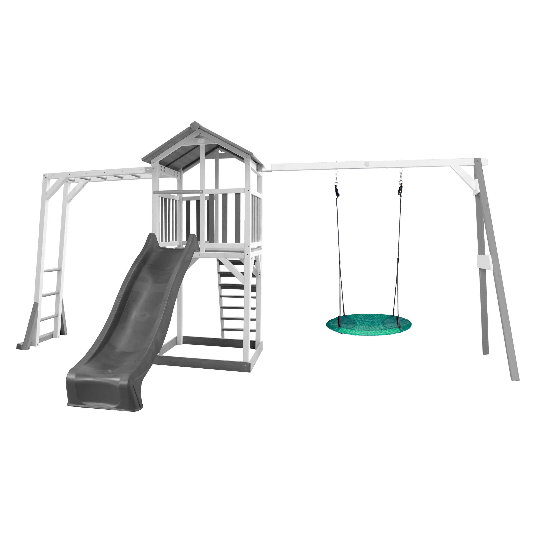 Aire de jeux en bois échelle de singe 1 balançoire nid toboggan gris