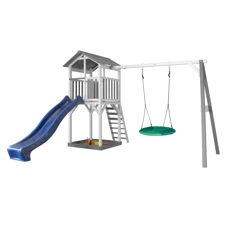 Aire de jeux en bois blanc 1 balançoire nid rond et toboggan bleu