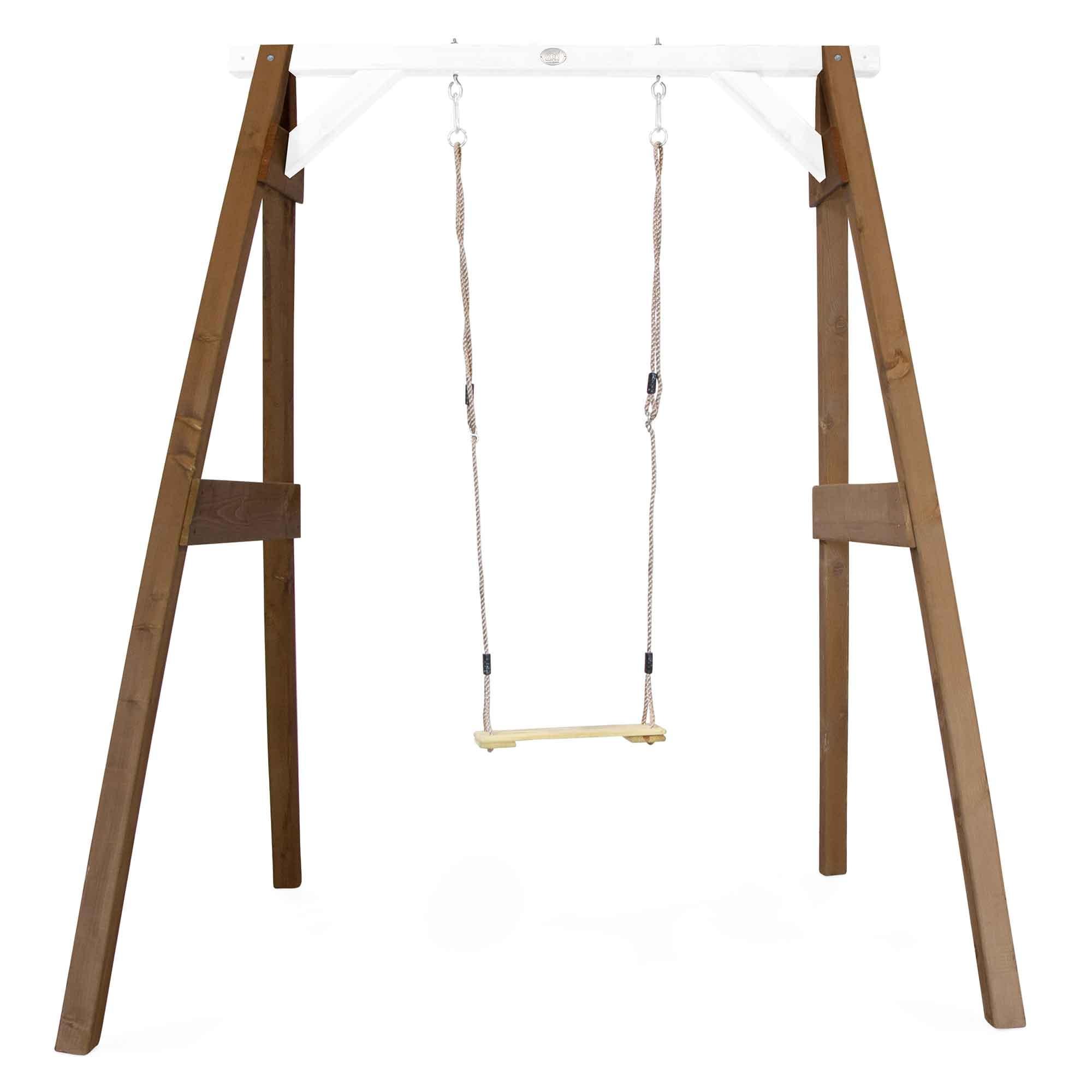 Portique 1 balançoire en bois marron et blanc