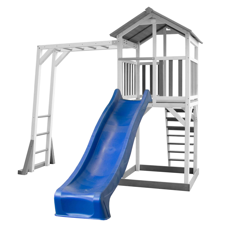 Aire de jeux en bois blanc avec échelle de singe et toboggan bleu