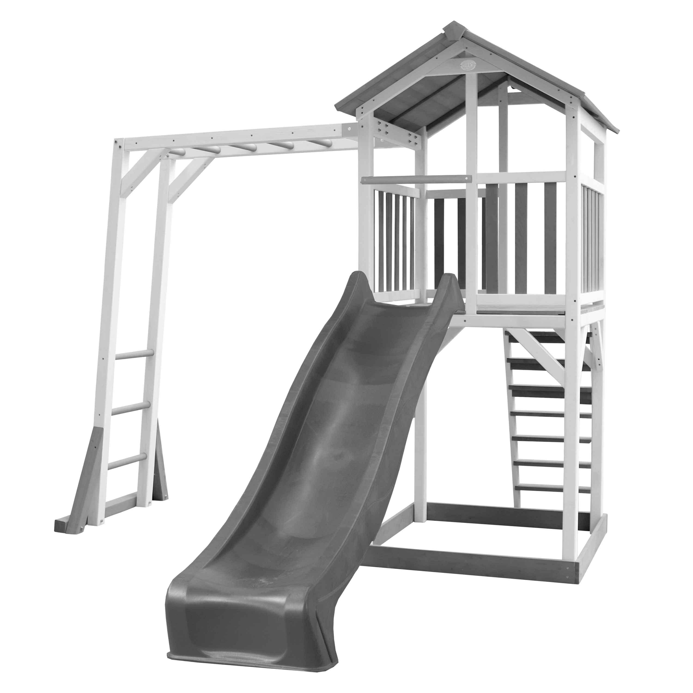 Aire de jeux en bois blanc avec échelle de singe et toboggan gris