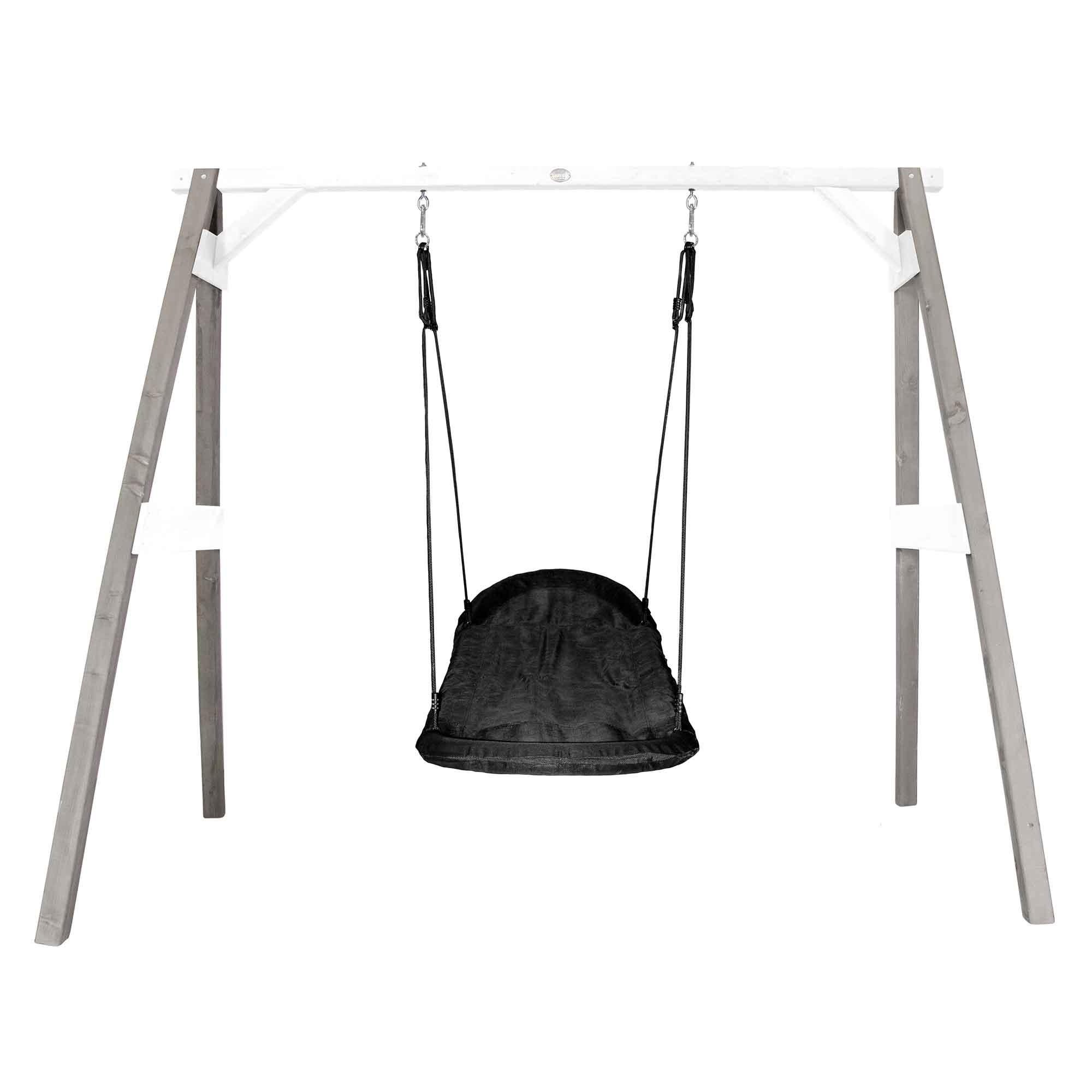 Portique en bois gris et blanc avec balançoire siège nid ovale