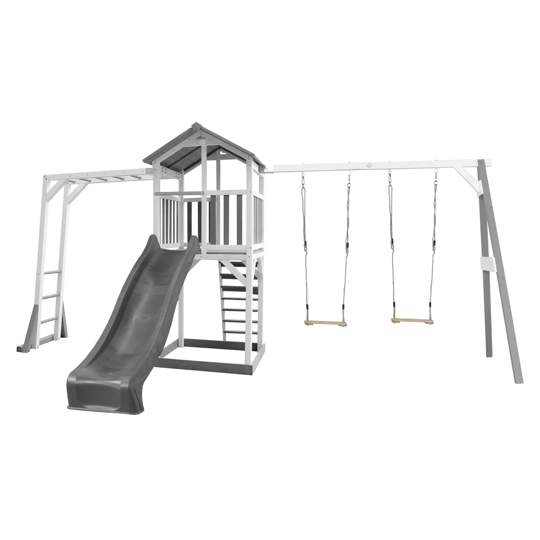Aire de jeux en bois 2 balançoire échelle de singe et toboggan gris