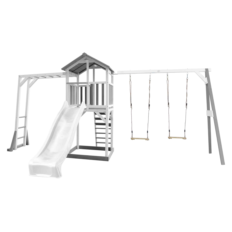 Aire de jeux bois 2 balançoires échelle de singe et toboggan blanc