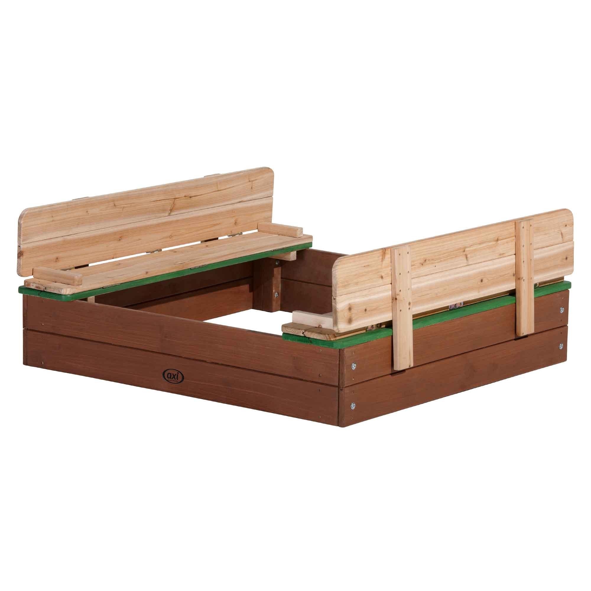 Bac à sable en bois avec bancs