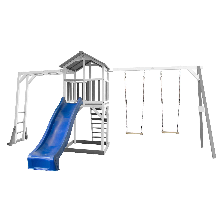 Aire de jeux bois 2 balançoires échelle de singe et toboggan bleu