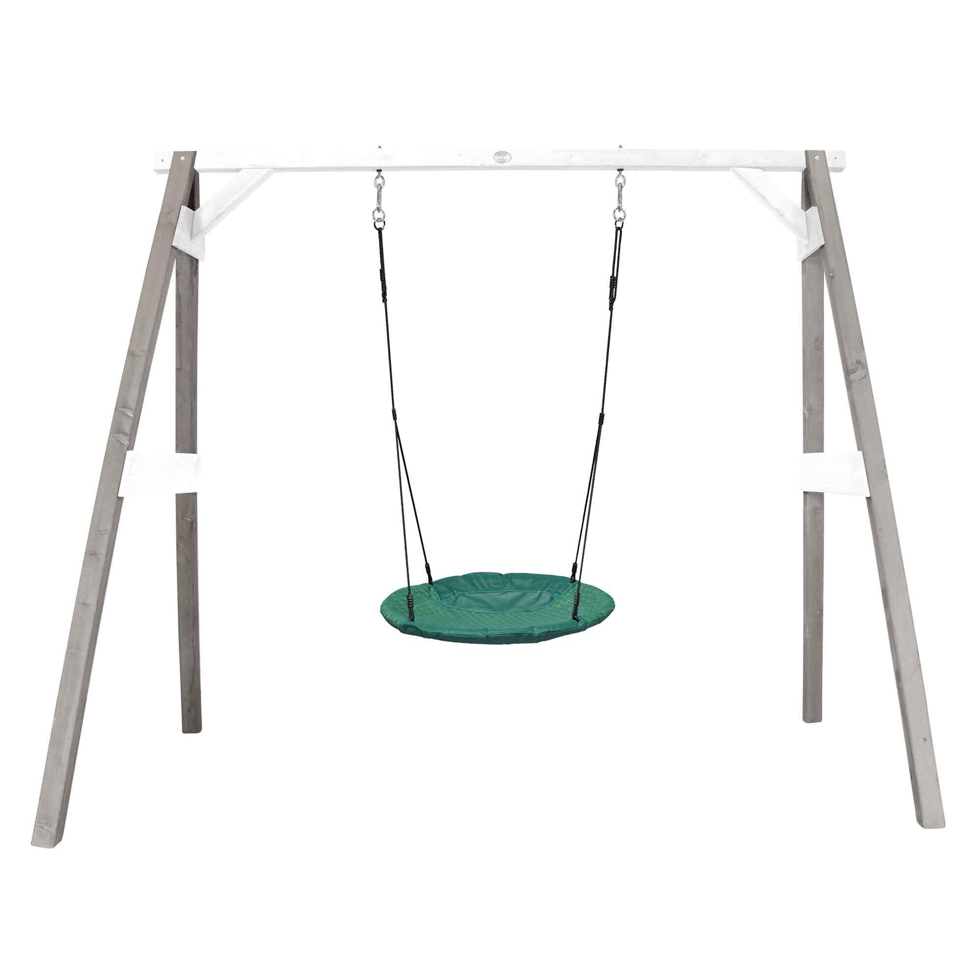Portique en bois gris et blanc avec balançoire siège nid rond