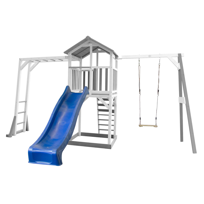 Aire de jeux avec échelle de singe 1 balançoire et toboggan bleu