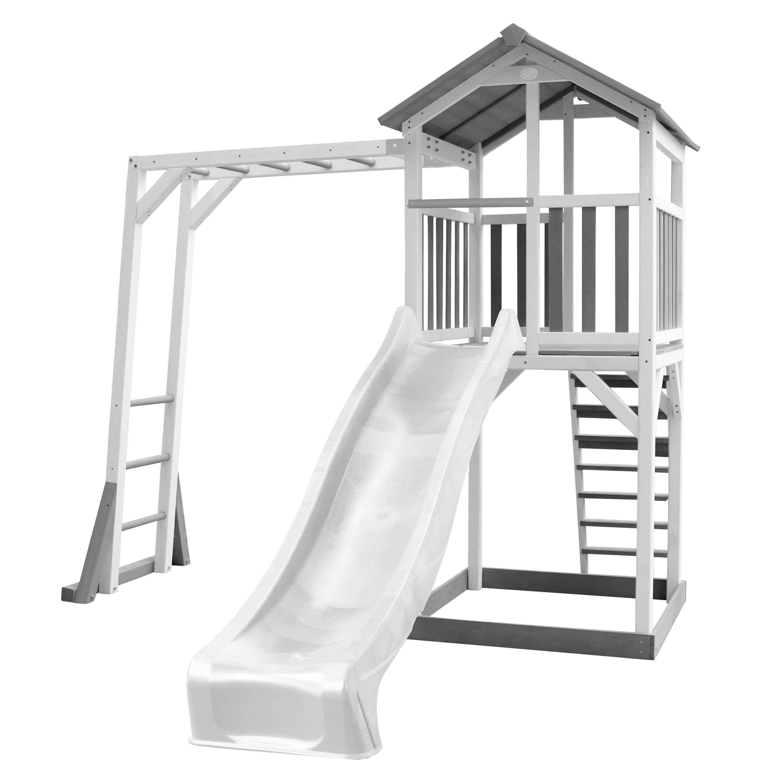 Aire de jeux en bois blanc avec échelle de singe et toboggan blanc