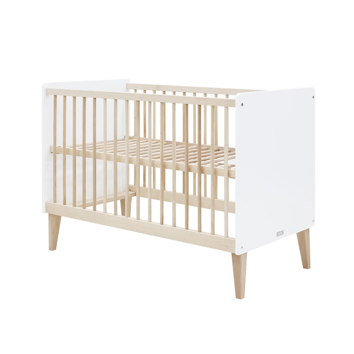 Lit bébé 60x120 blanc bois naturel