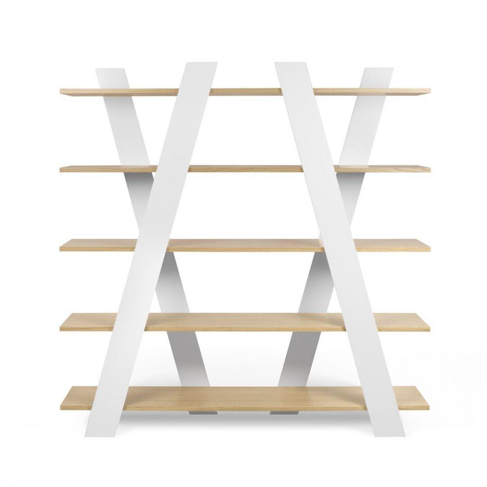 Bibliothèque  effet bois Blanc laqué et chêne