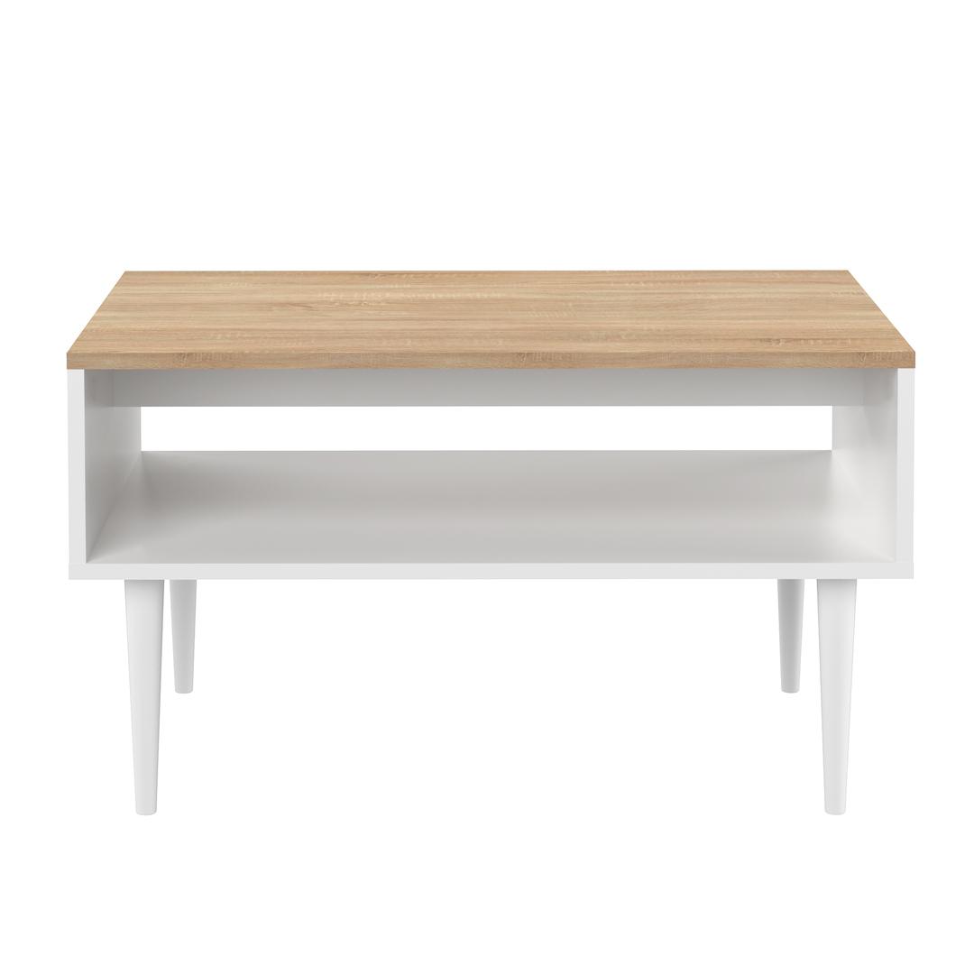 Table Basse effet bois Blanc et chêne naturel