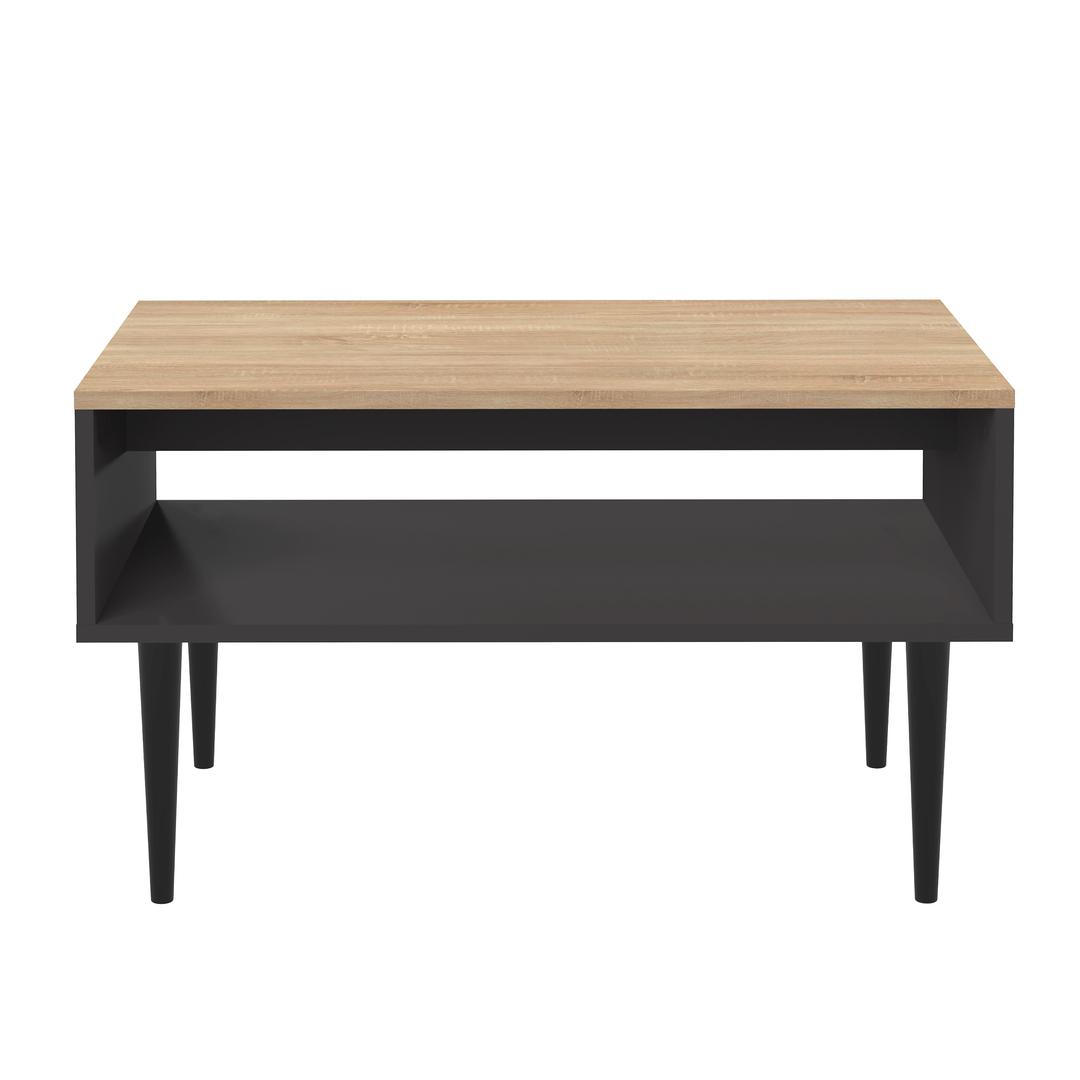 Table Basse effet bois Noir et Chêne naturel