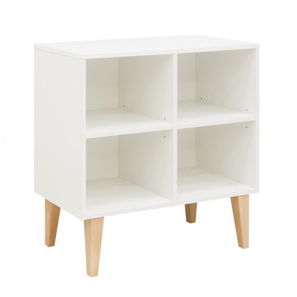 Bibliothèque basse 4 niches blanc bois naturel