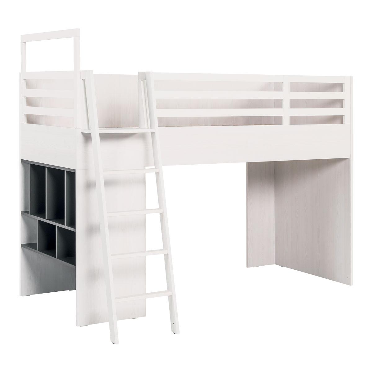 Lit combiné 90x200 blanc gris